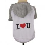 I LOVE YOU T-Shirt mit Mütze weiß und grau