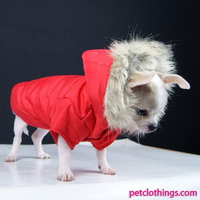Parka rosso per cane di taglia piccola e media for Marsupio per cani di piccola taglia