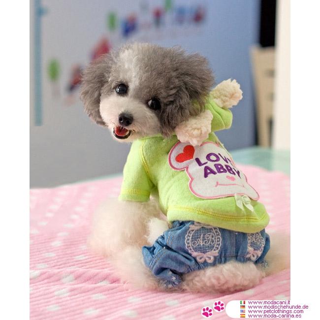 Felpa orsetto verde per cani di piccola taglia barboncino for Marsupio per cani di piccola taglia