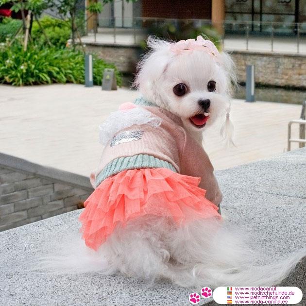 pull rose pour petit chien chihuahua caniche yorkshire maltais avec jupe en tulle. Black Bedroom Furniture Sets. Home Design Ideas