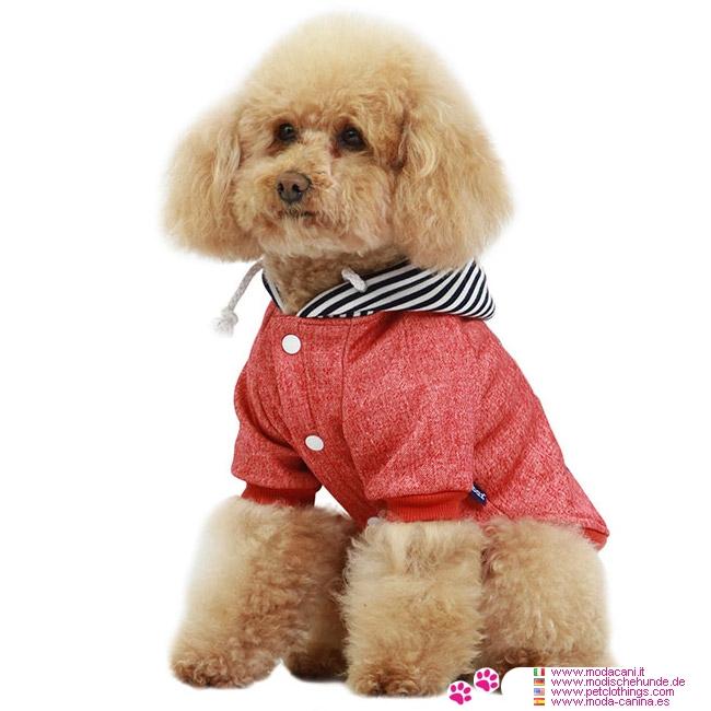 Felpa new york rossa con cappuccio per cane piccolo - Barboncino piccolo ...