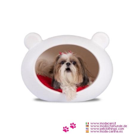 panier t te blanc pour petite chien chihuahua caniche yorkshire avec coussin rouge. Black Bedroom Furniture Sets. Home Design Ideas