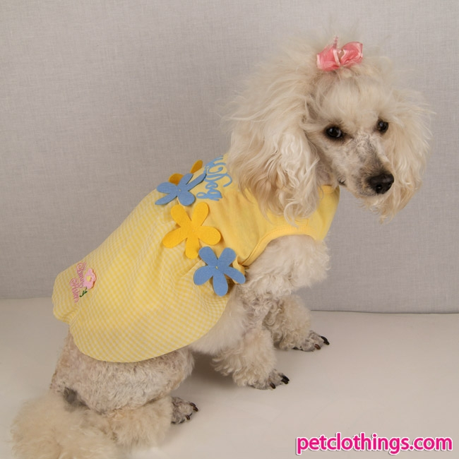 Yellow And Blue Dog Dress With Flowers Shipping To Usa And