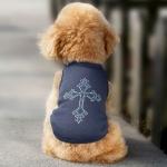 Maglietta Grigia per cani con Croce in strass sul dorso