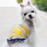 Tank Top for Dog with Yellow Stripes and Chicks