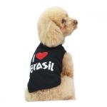 Canottiera Cani Piccoli I LOVE BRASIL Nera
