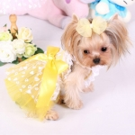 Dress for Small Dogs with Yellow Skirt with Hearts