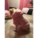 Coat with Fur for Dogs in Light Pink