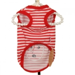 Sailor T-Shirt for Small Dog with White and Red Stripes