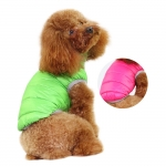 Reversible Down Jacket for Small Dogs, in Green and Pink
