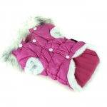 Magenta Bomber Jacket for Small Dogs with Detachable Hood