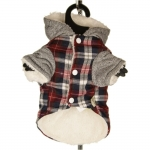 Checkered Coat with Fur Coat for Small Dogs
