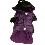Waterproof Coat for Dogs in Purple with Black Hood