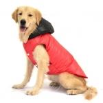 Abrigo Perros Grandes en Rojo con Capucha Negra