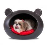 Cama de lujo en Negro para Perro Pequeño con Cojín Rojo
