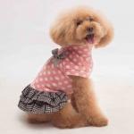 Vestido con Falda Perros Pequeños en Rosa Claro con Lunares