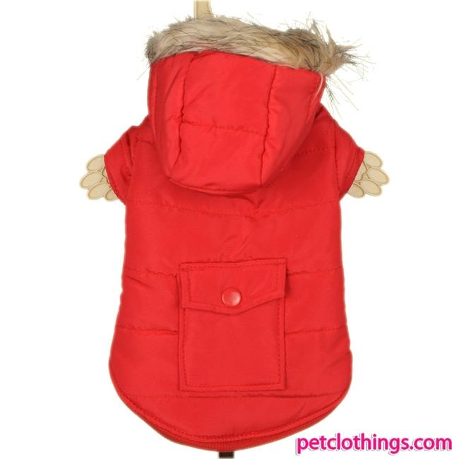 Plain Red Parka with Pocket for dog