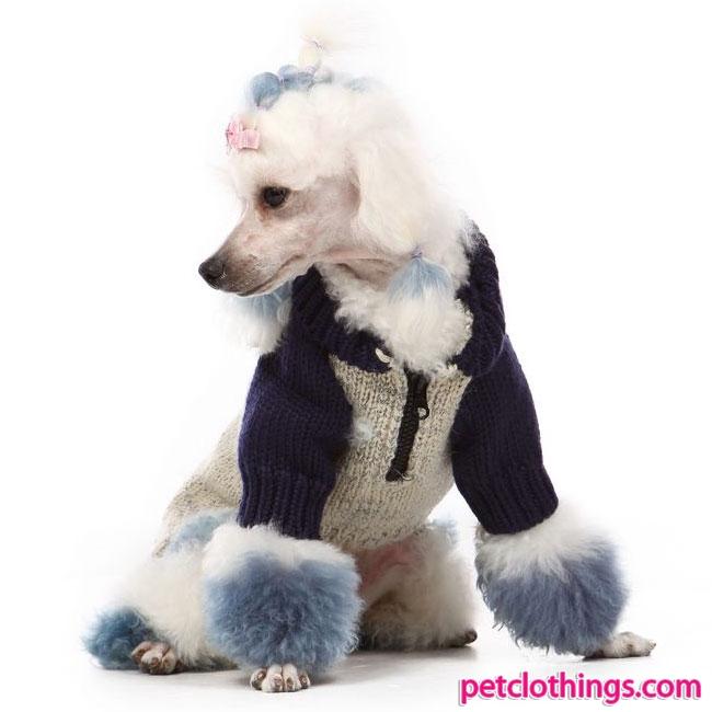 vendita online maglione per cani con zip color corda e blu