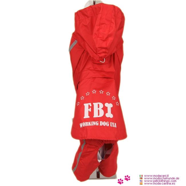 Imperméable FBI Rouge 4 Pattes pour Gros Chiens