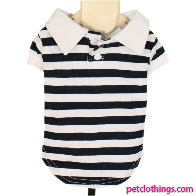 Blue and White Striped Sailor Polo Tee for Dogs