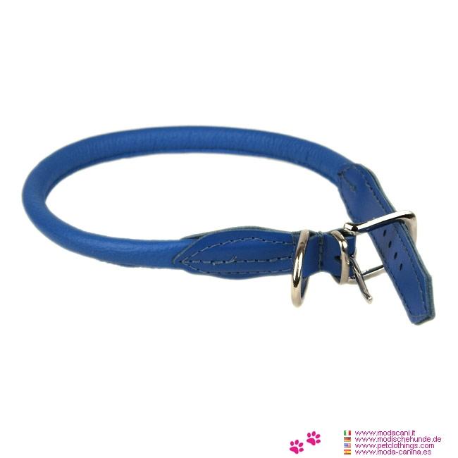 Collier Rond pour Chien en Cuir Bleu