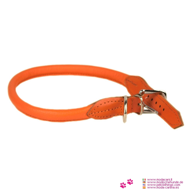 collier rond pour chien en cuir orange. Black Bedroom Furniture Sets. Home Design Ideas