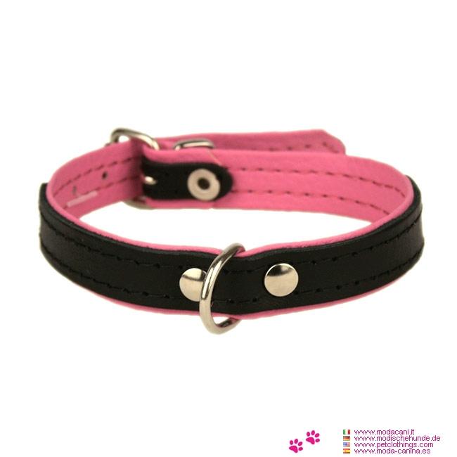 Collar de Cuero para Perros en Negro y Rosa