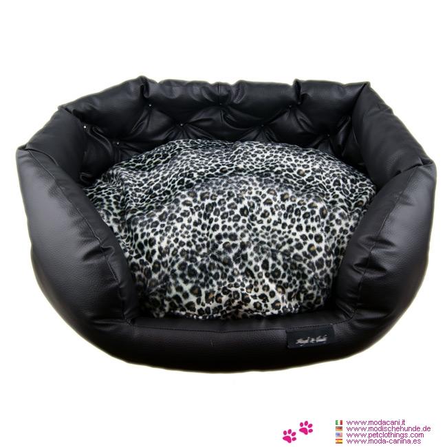 Cuccia Ovale Nera in Similpelle con cuscino Maculato