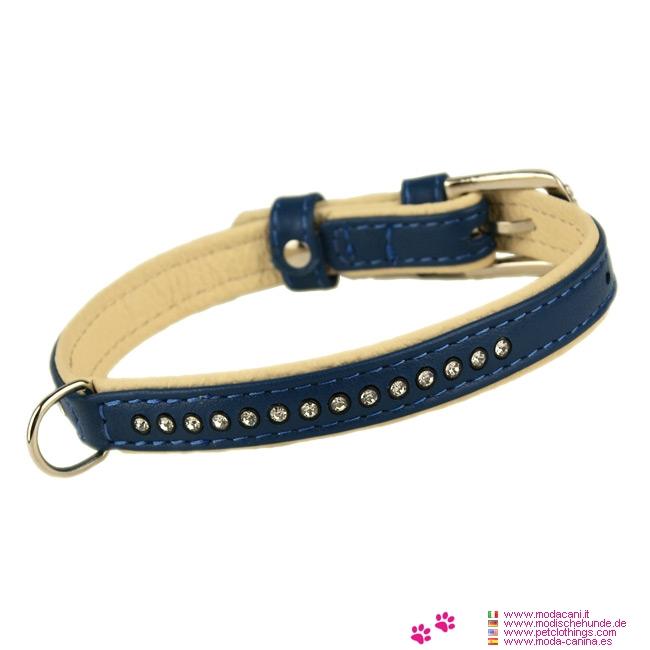 Collare Brillante Blu in Pelle per Cane Piccolo