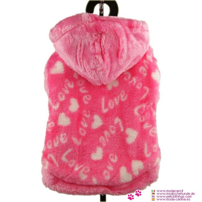 Felpa in pile per Cani Piccoli Love Rosa