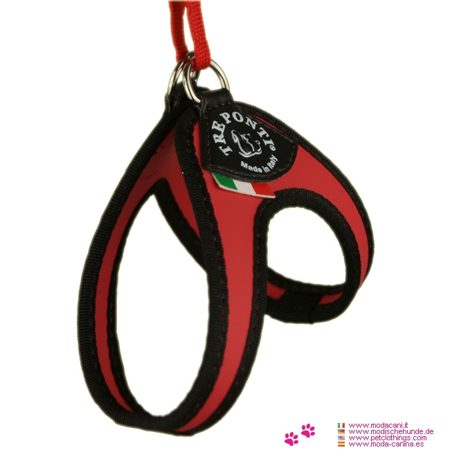 Harness for Small Dog in Red with Lace