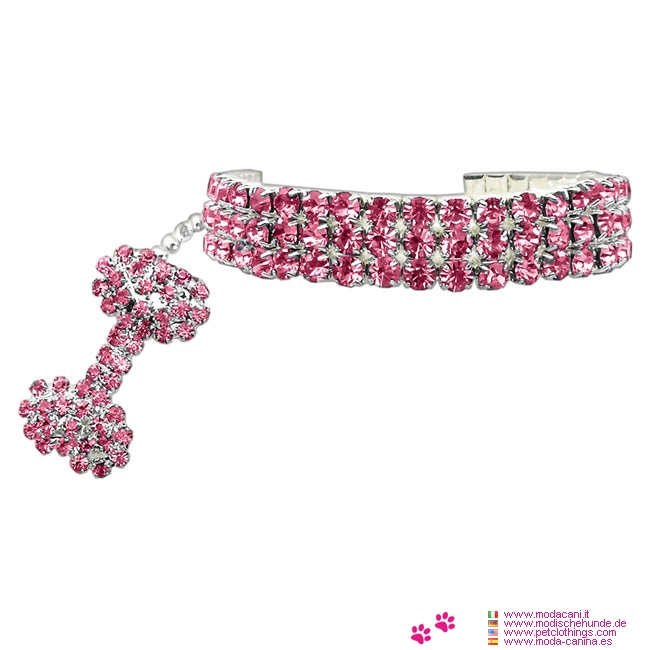 Necklace with Strass for Small Dogs in Pink