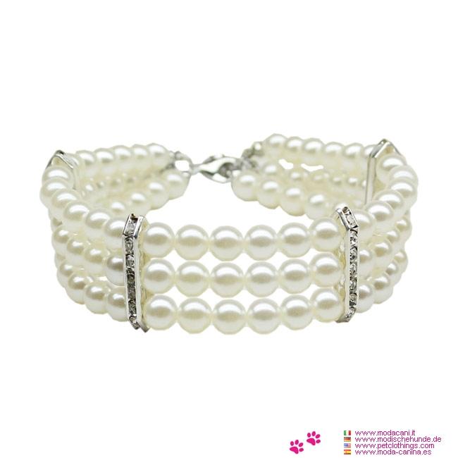 Collana Bianca con 3 file di perle per Cane