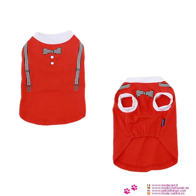 T-shirt Gentleman Rouge pour Petits Chiens