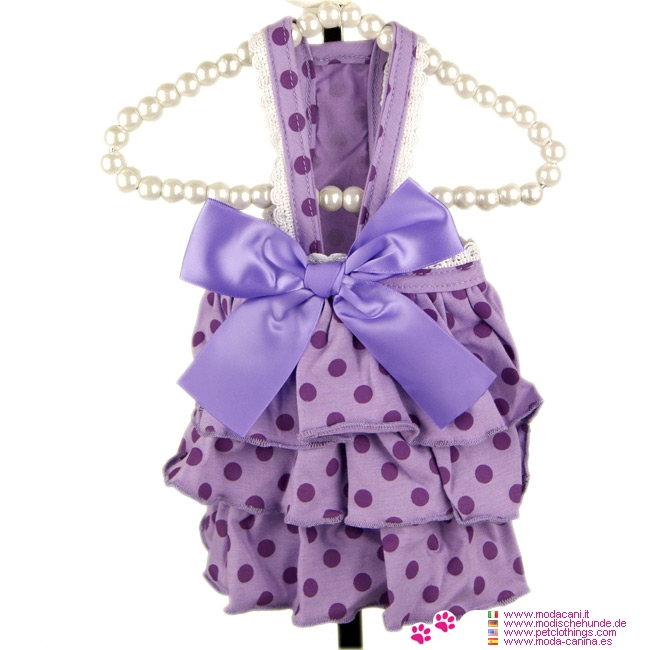 Summer Dog Dress with Polkadot in Lavender