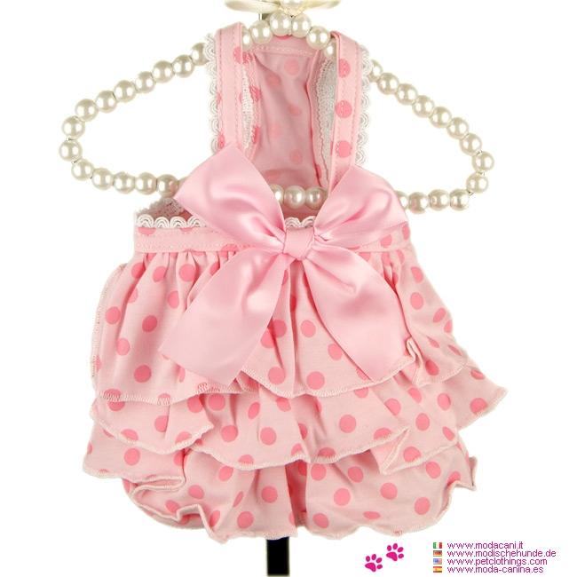 Vestito estivo per Cani Sogno a Pois color Rosa