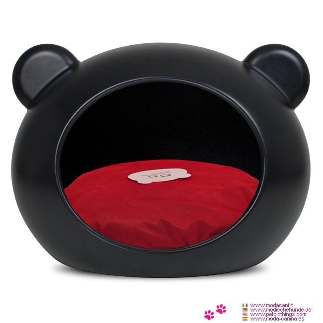 Cuccia Nera Rigida per Cani Piccoli con Cuscino Rosso
