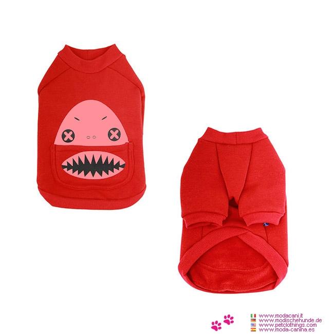 Felpa rossa modello squalo per cane piccolo chihuahua - Barboncino piccolo ...