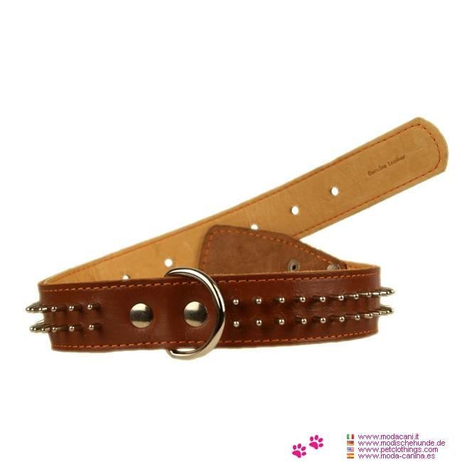 Collar de Cuero Marrón para Perros con 2 filas de Púas