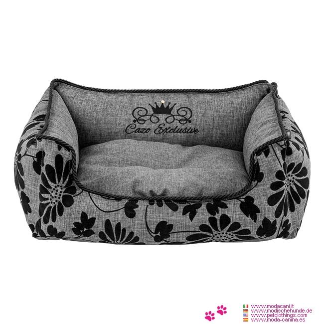 Cuccia rettangolare sfoderabile per cani in grigio con fiori in velluto - Cuccia per cani interno ...
