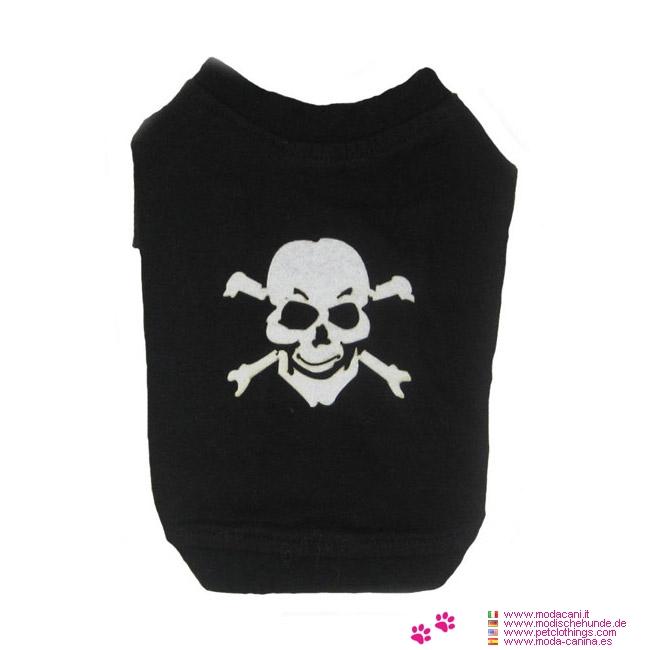Shirt en Noir solide avec un Crâne pour les Petits Chiens