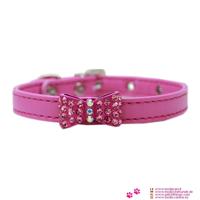 Pink Collar for Small Dog with Bow with Strass