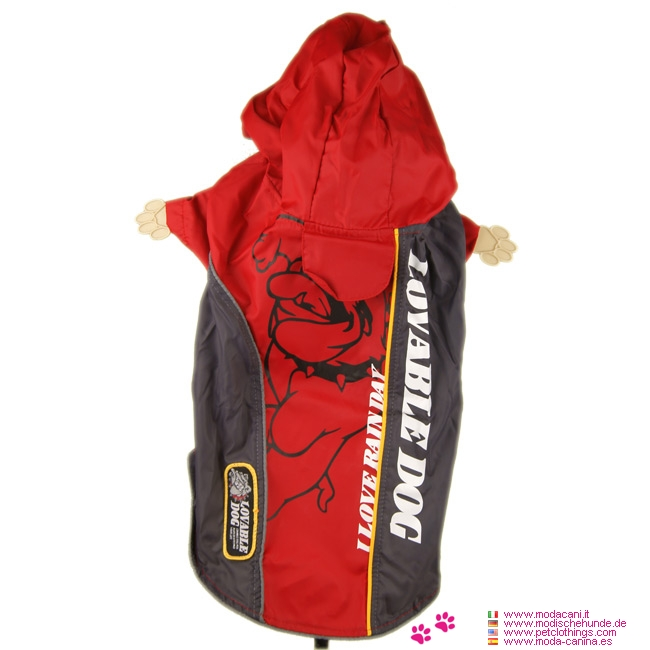 Red Bully Nylon Raincoat for Small Dogs