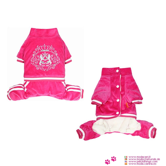 Padded Royal Pink Overall in Chenille for Small Dogs