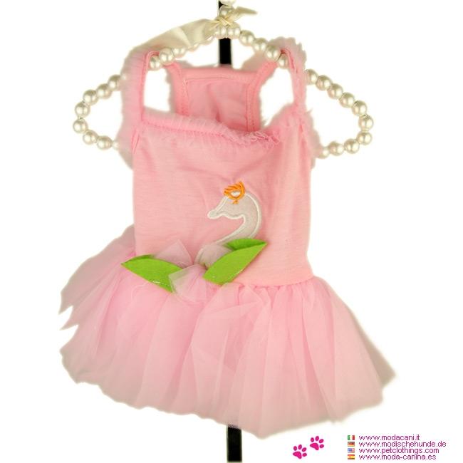 Vestito Rosa per Cagnolina con Gonna in Tulle e Cigno