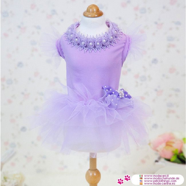 Vestito Incanto Lavanda per Cani con Gonna in Tulle