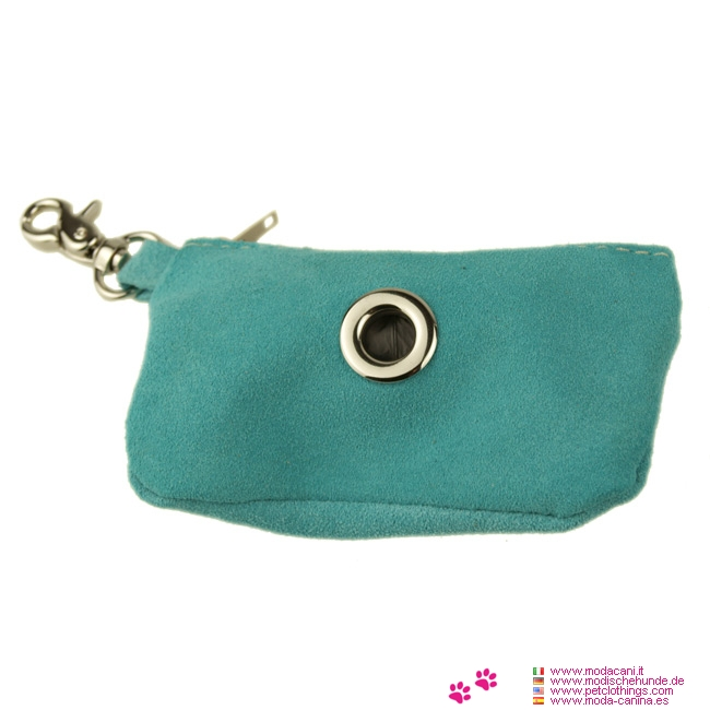 Dog Waste Bag Dispenser in Turquoise Suede