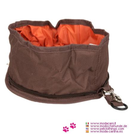 Comedero de Viaje Impermeable Marrón para Perros