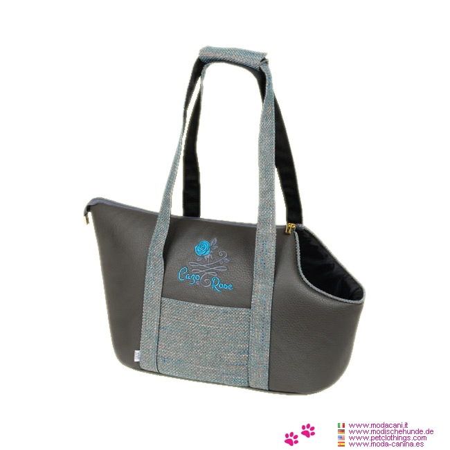 Borsa Trasportino per Cane Blue Rose in Similpelle