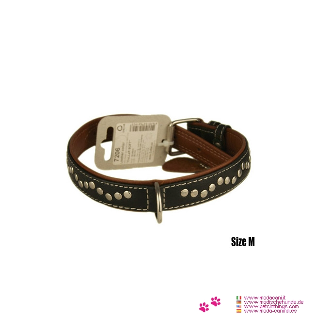 Genuine Leather Collar in Black with Flat Metal Studs